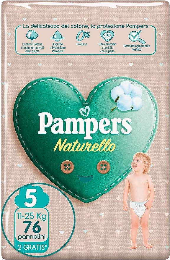 Pampers Naturello, 76 Pannolini Contenenti Cotone e Materiali Naturali Derivanti dalle Piante, 0% Profumo, Taglia 5 (11-25 kg)
