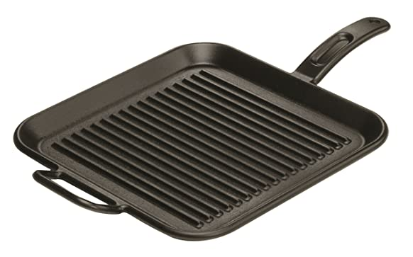 Lodge Pro-Logic P12SGR3 Pre-Seasoned Cast Iron Square Grill Pan, 12-inch Pots & Pans at amazon