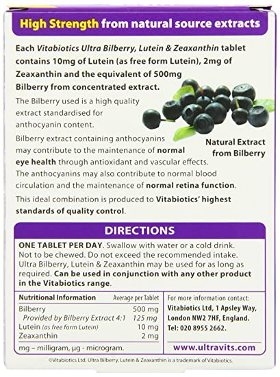 Amazon.com: Vitabiotics - Ultra Bilberry, Lutein & Zeaxanthin - 30 Tablets:  Health & Personal Care