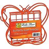 Belle Fleur Butterfly Suet Bird Feeder, Red, One Suet Cake Capacity