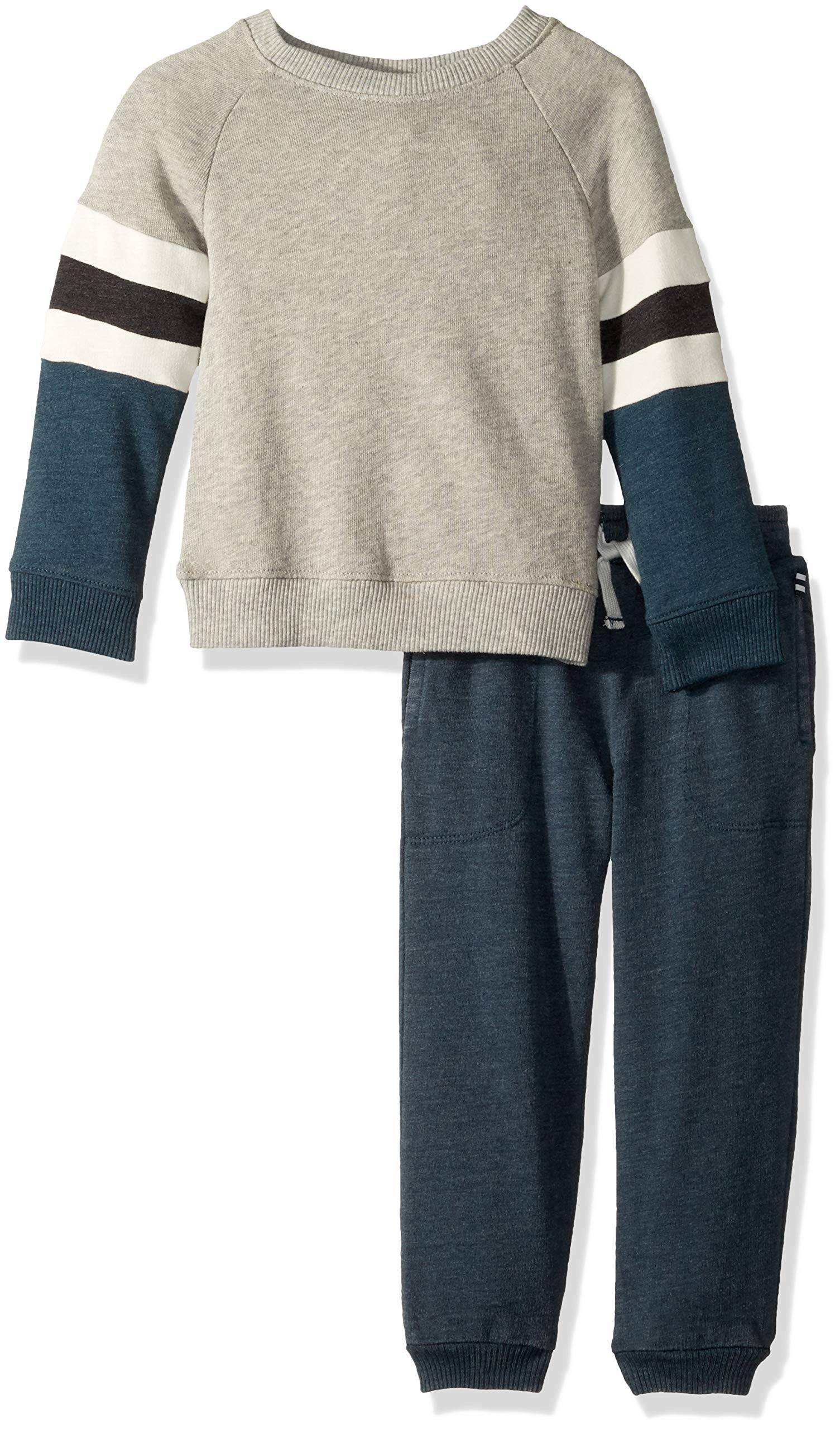Splendid Toddler Boys' Kids and Baby Long Sleeve Top and Bottom 2 Piece Set, Light Grey Heather 2T