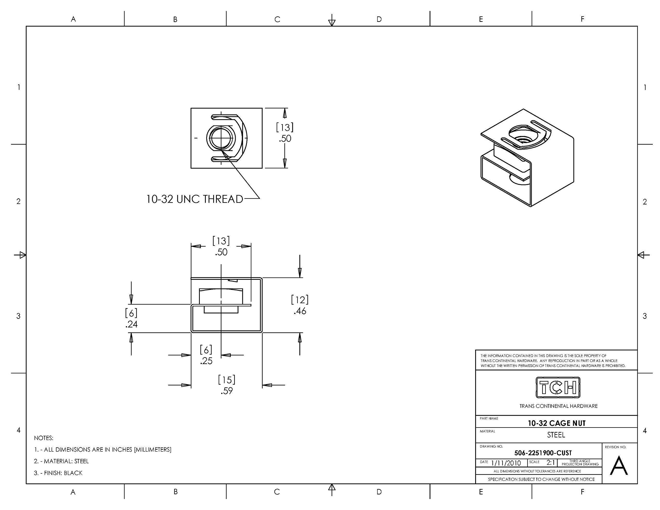 TCH Hardware 100 Pack Black Steel Cage Nuts 10-32 UNF - Network Server AV Rack Mount Shelves Cabinet Rail Caged Captive Clip by TCH (Image #3)