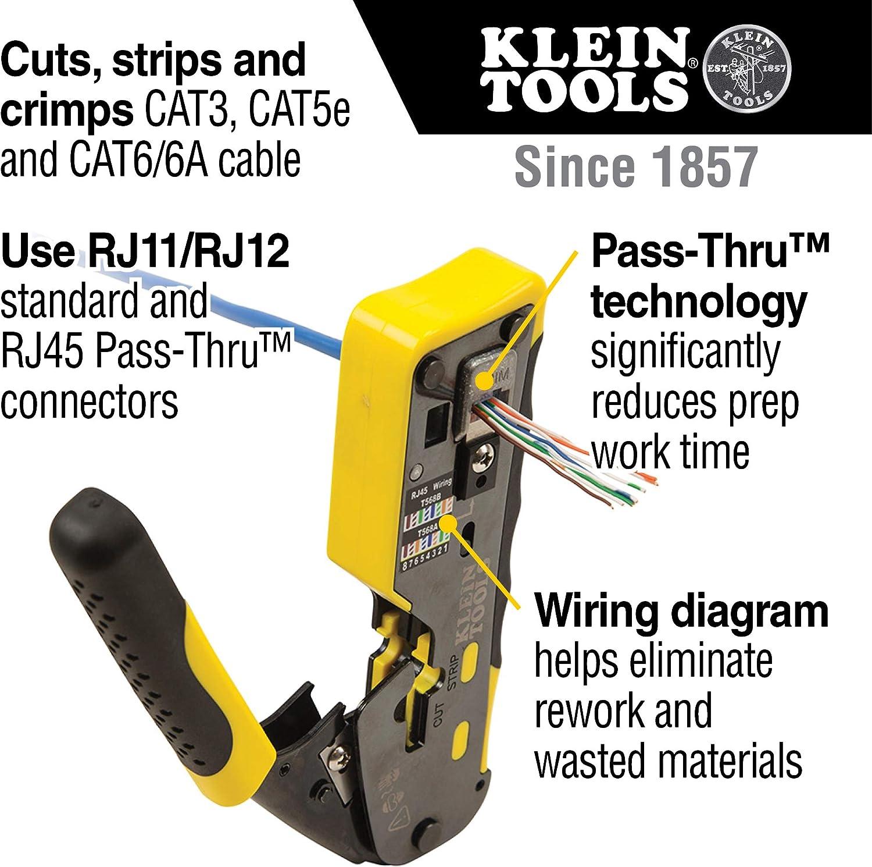 Klein Tools VDV226-110 Wire Crimper / Wire Cutter / Wire Stripper Pass-Thru Modular All-in-One Tool …