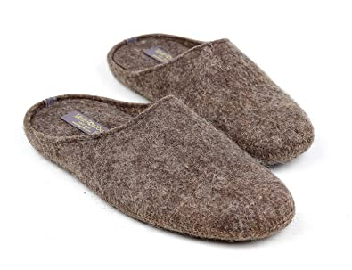 e60aaed5d39 Made For You Men s Natural Wool Slippers with Non-Slip Rubber Soles