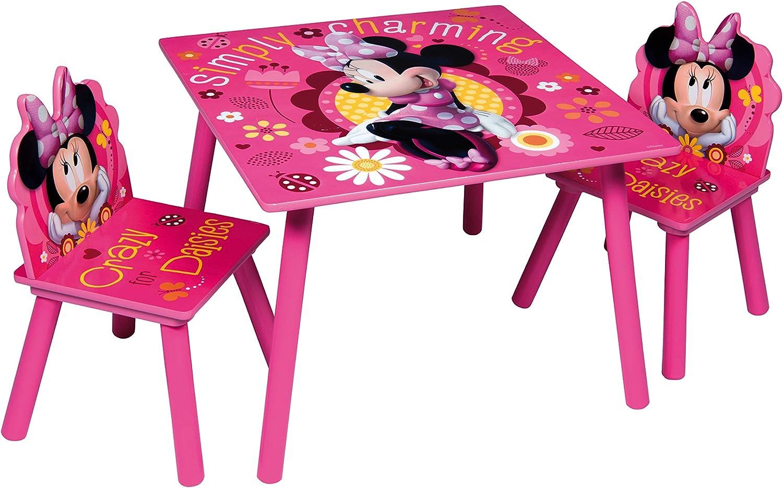 Juego de mesa y sillas de madera para niños Minnie
