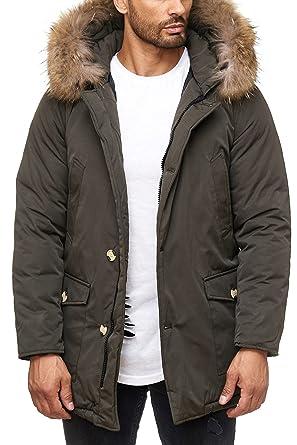 Husaria warme Winter Herren Jacke mit Fell und Kapuze AK923 Kapuzenjacke (XL, Khaki)