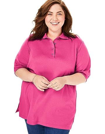 e2f6ee27c Woman Within Women's Plus Size Short Sleeve Polo Tunic Shirt