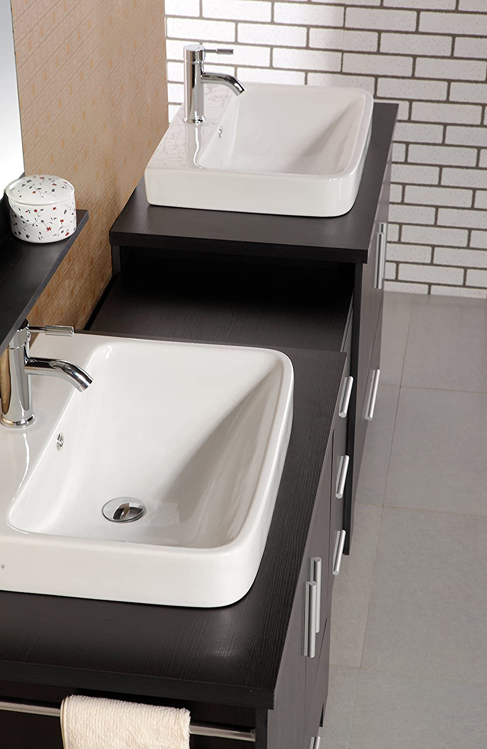 Design Element Washington Double Drop-In Vessel Sink Vanity Set ...