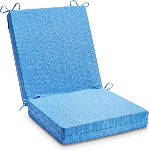 LOVTEX Patio Indoor Outdoor Furniture Cushions Water-Resistant Chaise Lounge Chair Bench Cushions Blue Jacquard Square Corner Chair Cushion 1 Piece
