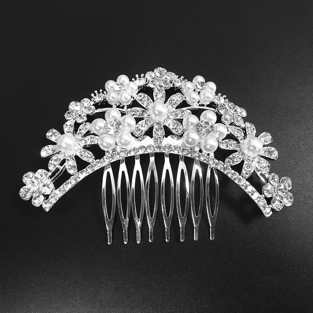 Miaoo Haarkamm mit Diamanten für Frauen, Brautschmuck, Haarclip