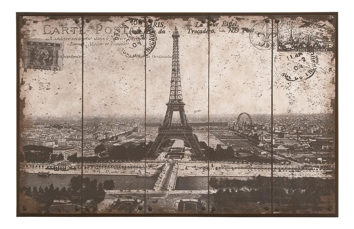 Deco 79 Wall Art of Postcard Style Paris Eiffel Tower