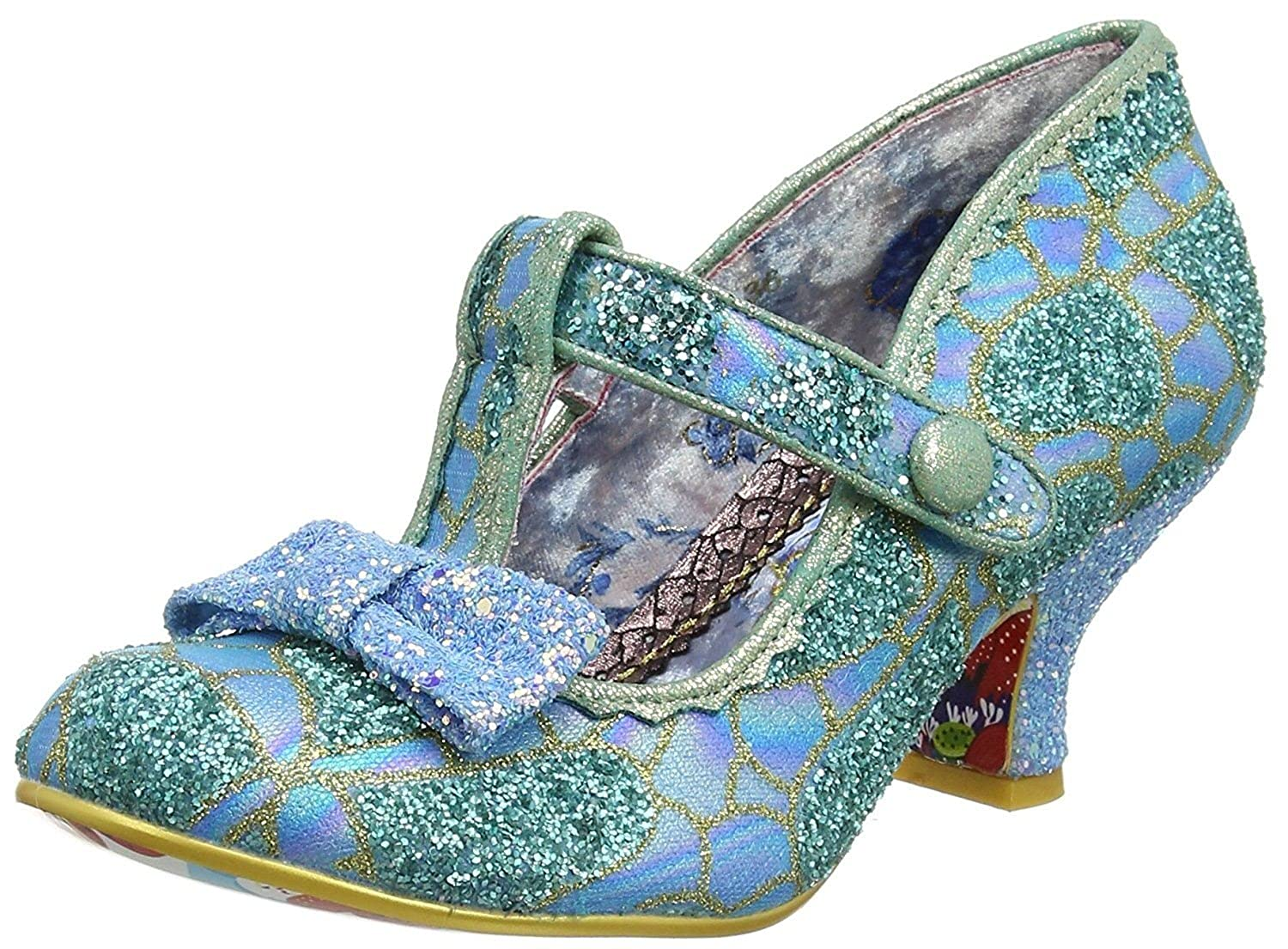 #Irregular Choice Lazy River Blue Gold Womens Ankle Bar Heels