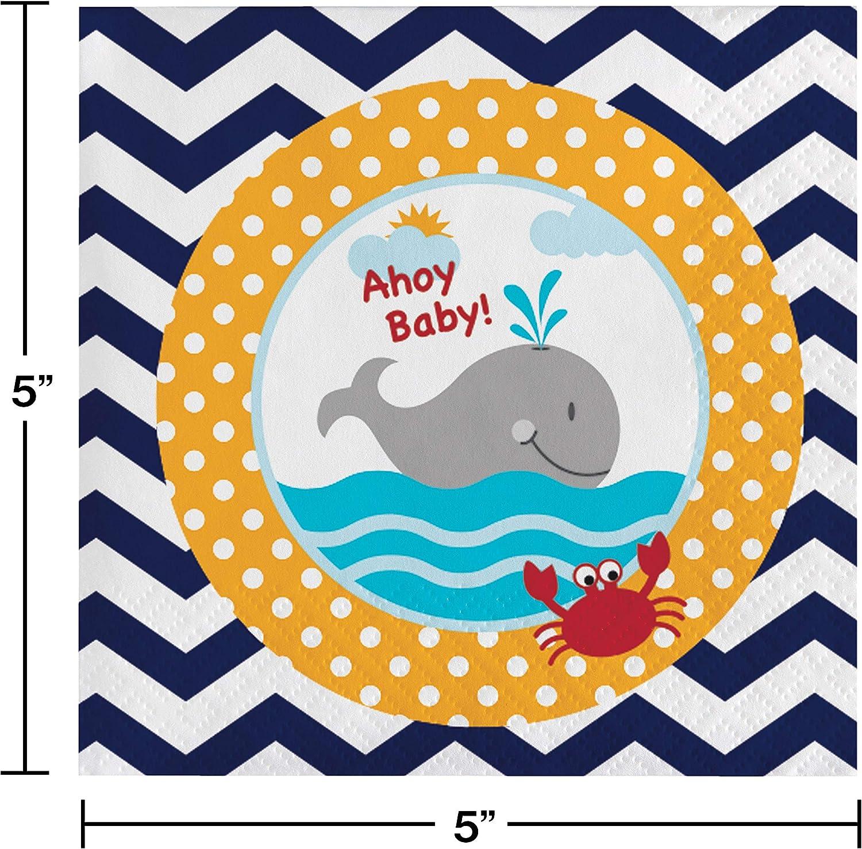 Creative Converting 18 Count Ahoy Matey Ahoy Baby Beverage Paper Napkins 651226