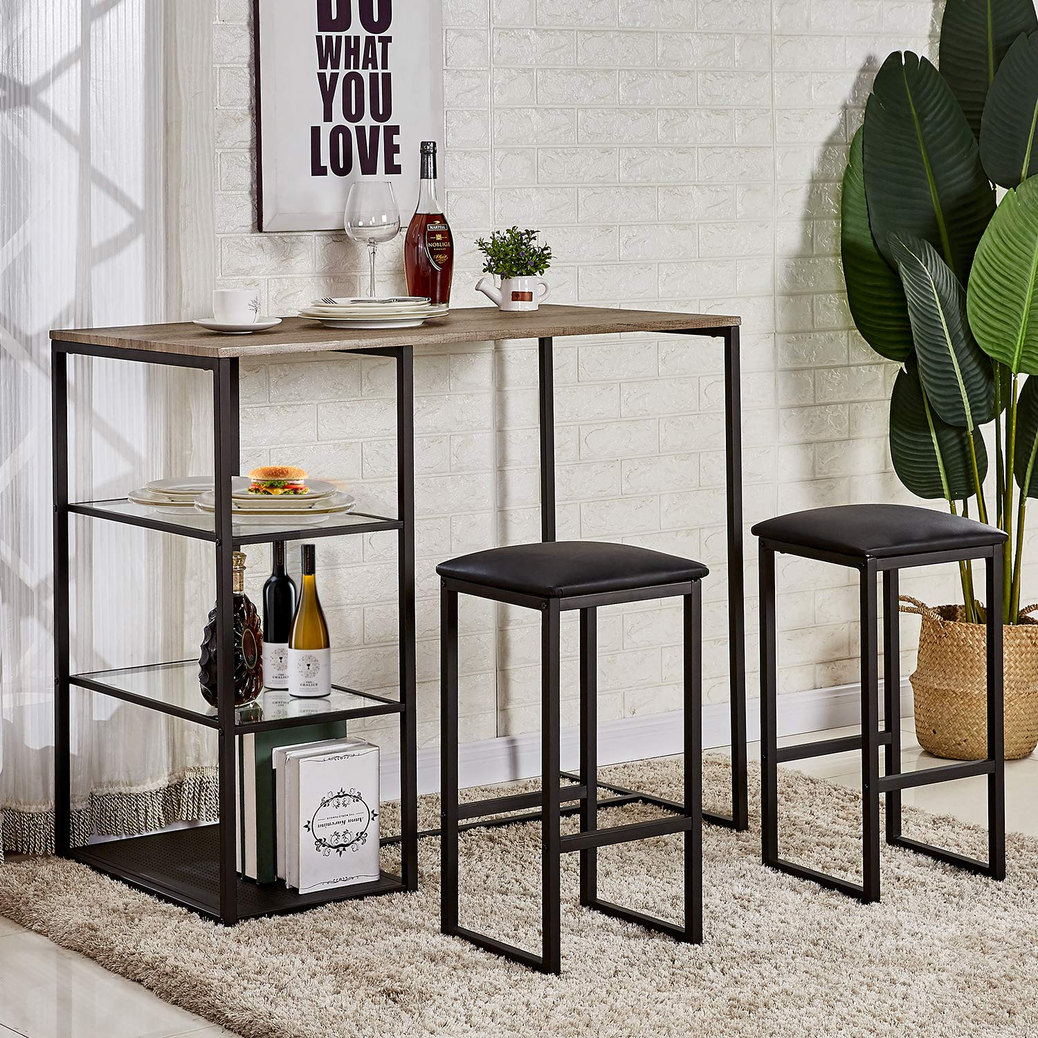 VECELO 3-Piece Pub Dining Set Table with Cushion Stools by VECELO