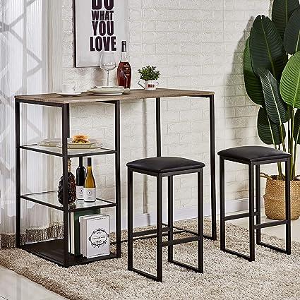Amazoncom Vecelo 3 Piece Pub Dining Set Table With Cushion Stools