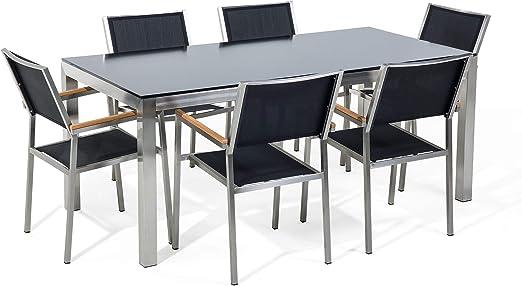 Beliani Conjunto de jardín Mesa en Vidrio 180 cm, 6 sillas Negras GROSSETO: Beliani: Amazon.es: Hogar