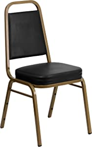 Flash Furniture HERCULES Series Trapezoidal Back Stacking Banquet Chair in Black Vinyl - Gold Frame