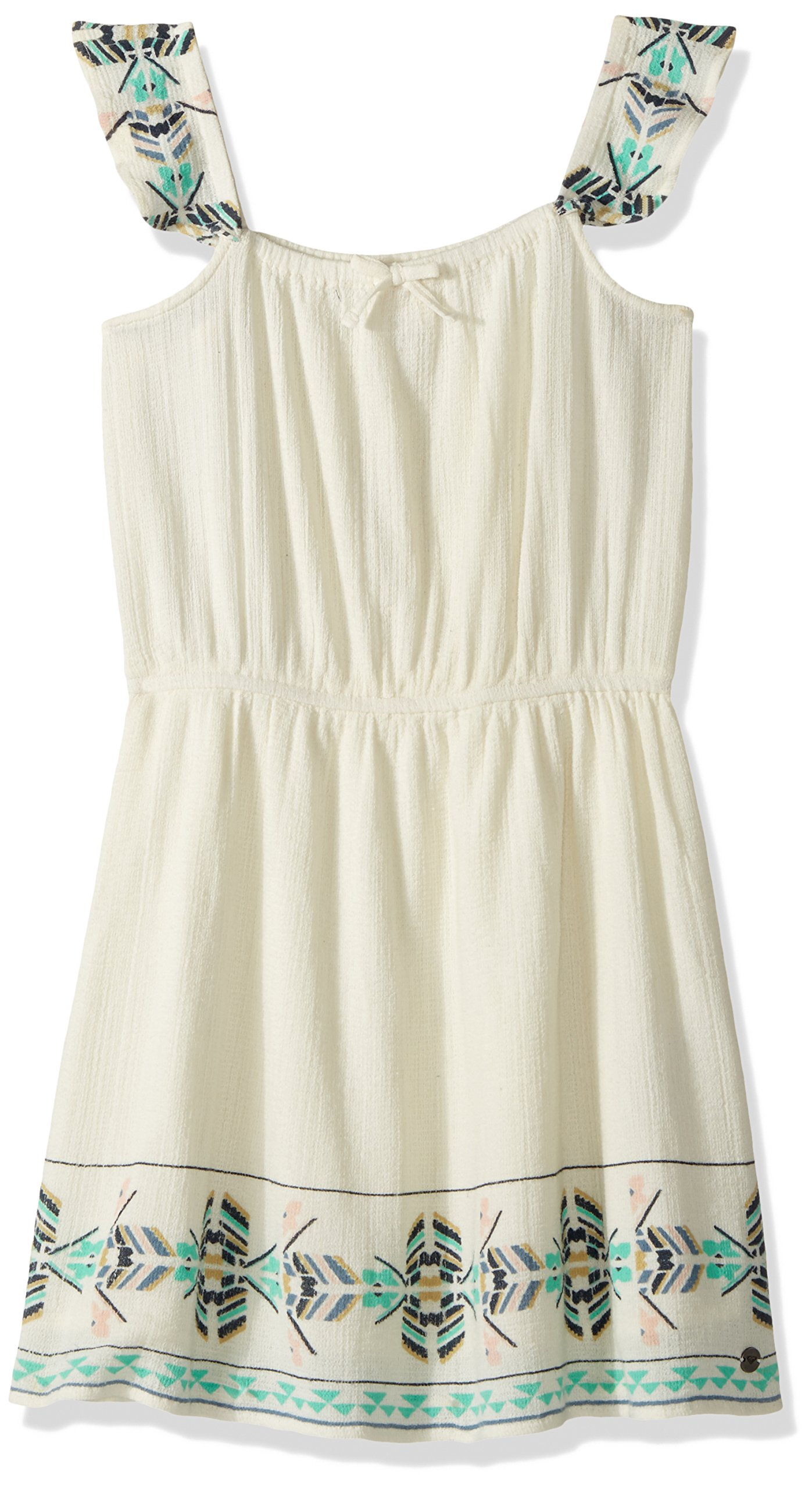 ROXY Girls' Big High Lines Flyes Woven Dress, Marshmallow, 8 by ROXY