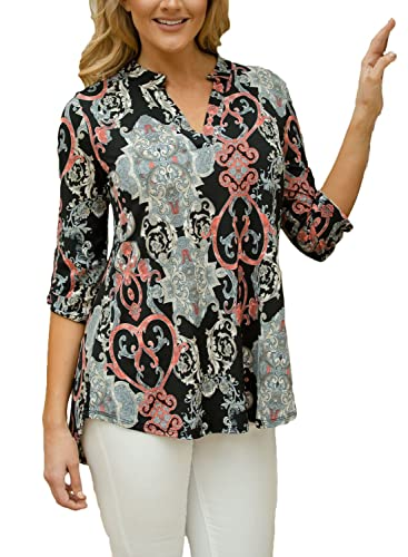 Chase Secret Womens Caual V Neck Loose Cuffed 3 4 Sleeve Floral Printed Blouses Tops