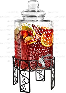 Glass Beverage Dispenser with Stainless Steel Spigot, Stand and Lid - For Iced Tea and Infused Water - Hammered Design, Floral Base - 2.25 Gallon - by Lux 'n Lavish