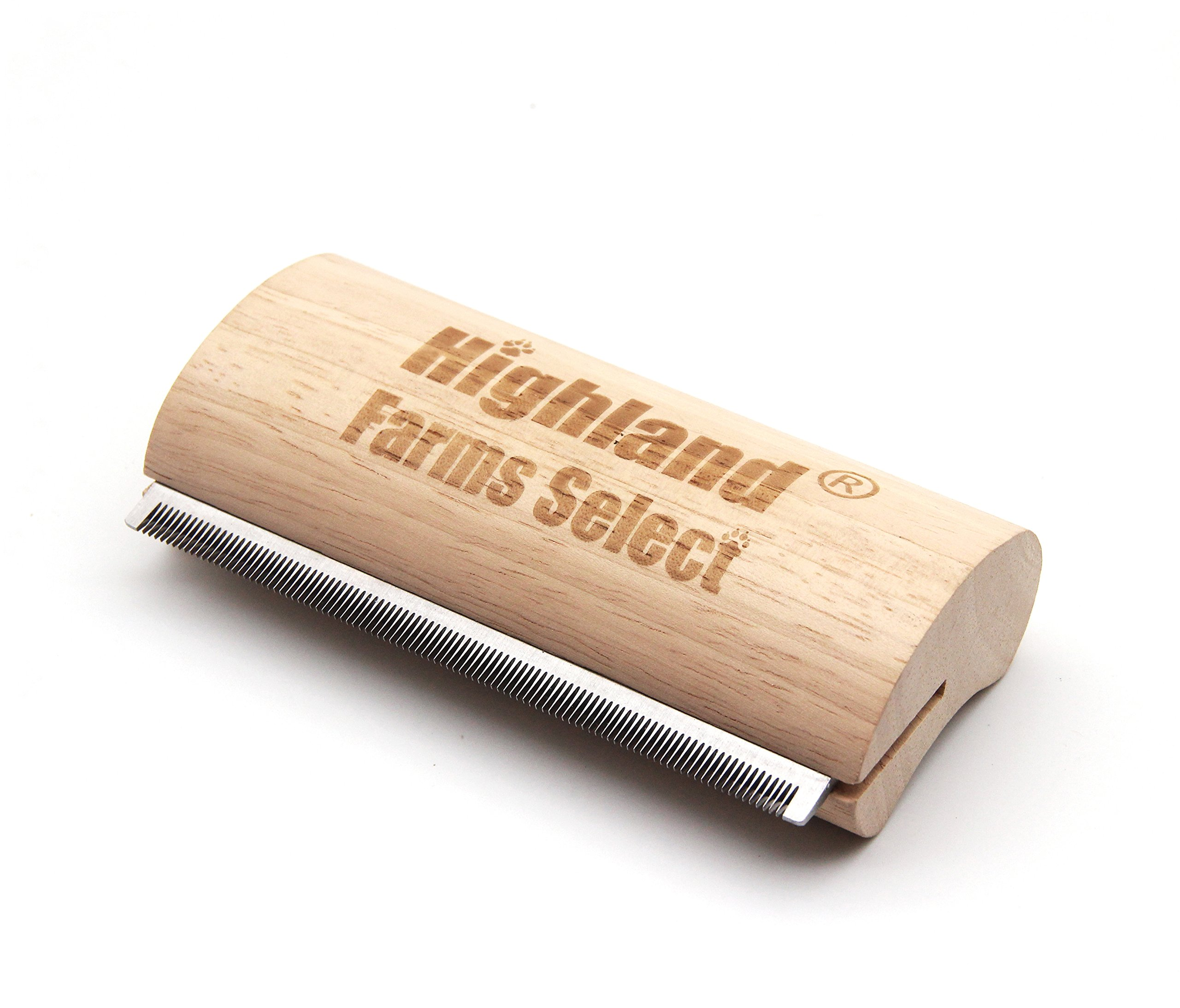 Highland Farms Select Ergonomic Wooden Design Deshedding Grooming Tool, Professional Pet Grooming Brush for dogs, cats and horses, L
