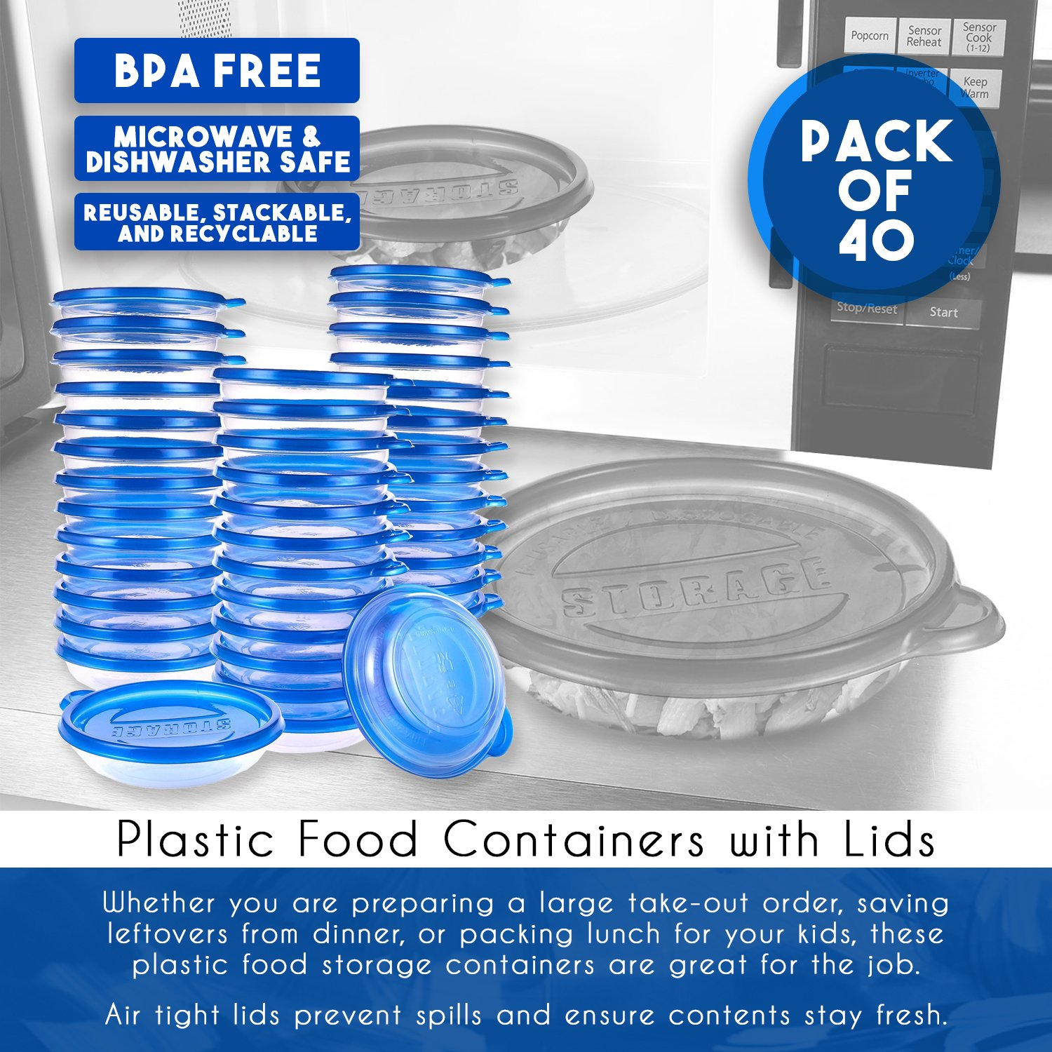 40-Pack Plastic Food Containers with Lids - Small Round Food Storage Containers, Deli Take Out Restaurant Containers, Microwave, Freezer, Dishwasher Safe, Fits 9.5 Fluid Ounces, 9.5 fl oz by Juvale (Image #4)