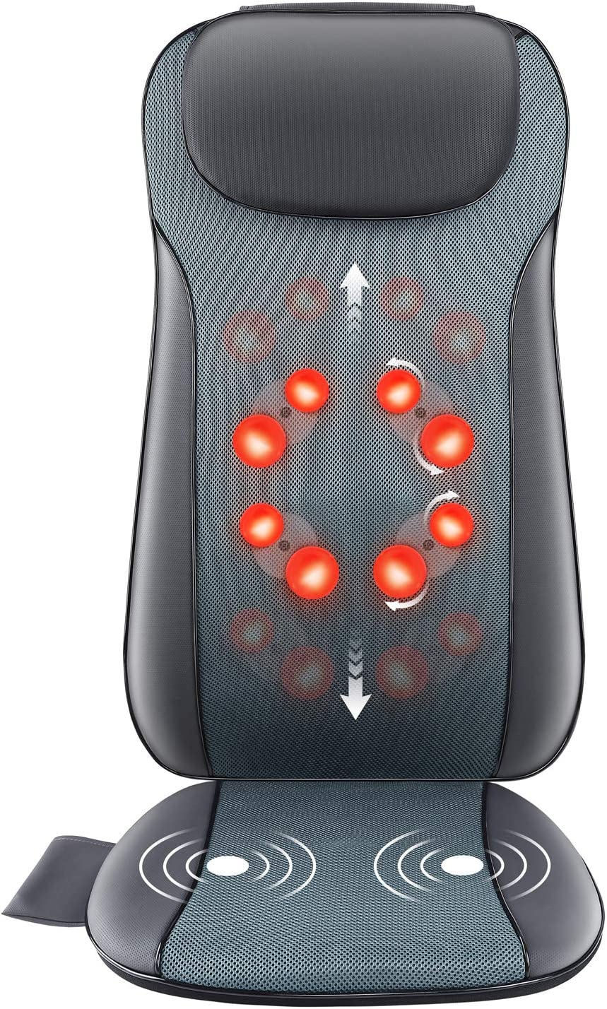 Rolli-Fit Shiatsu Back Massager with Heat, 2D&3D Kneading Full Back Massager with 8 Massage Nodes, Massage Chair Pad for Back Waist Pain Relief, Home Office Seat Massager Cushion Use