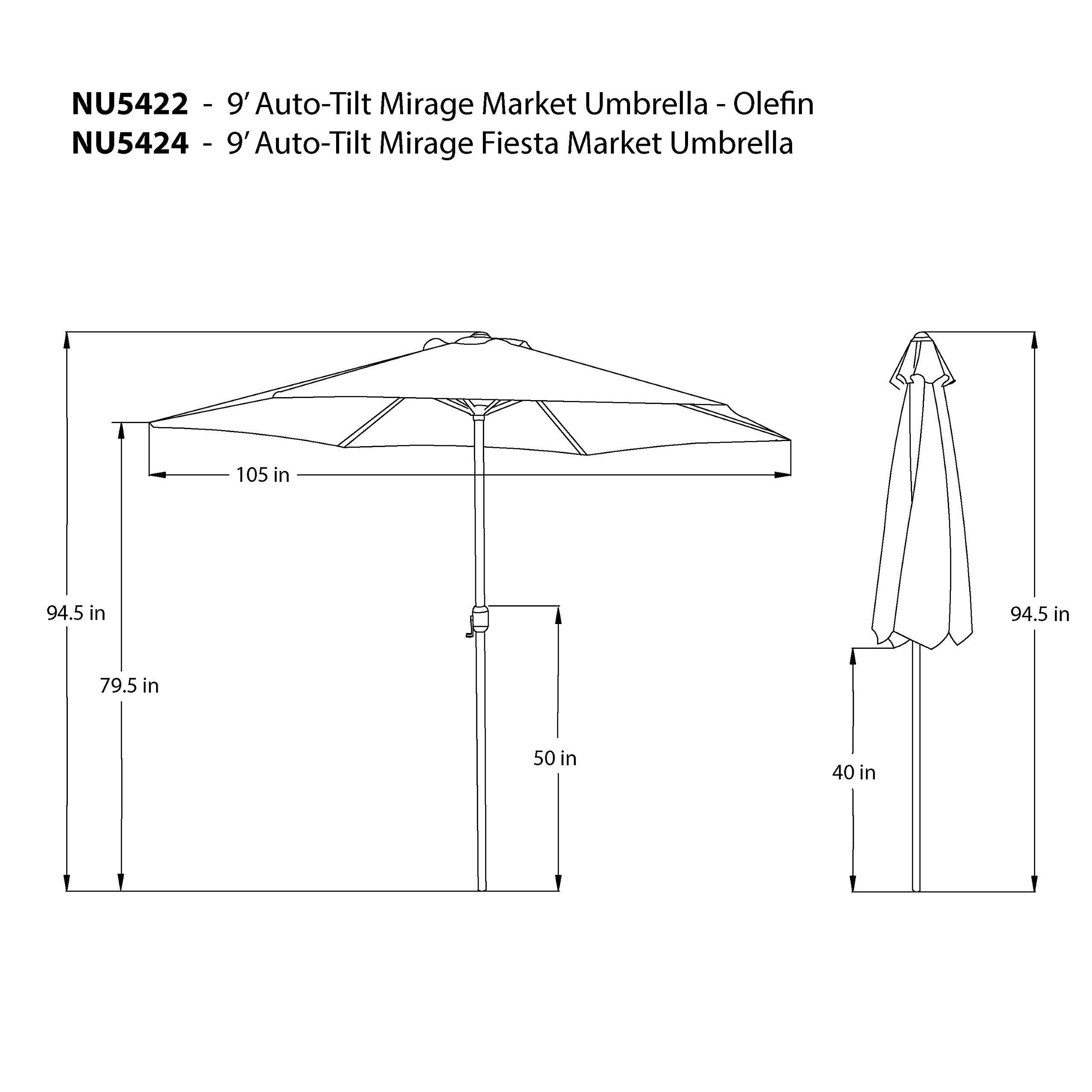 Island Umbrella N5424TC Mirage Fiesta Octagonal Market Umbrella, 9-ft, Terra Cotta Olefin