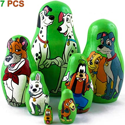 Amazon Com Matryoshka Dolls Famous Dogs From Disney Cartoons Set 7 Pcs Wooden Toy Toys Games