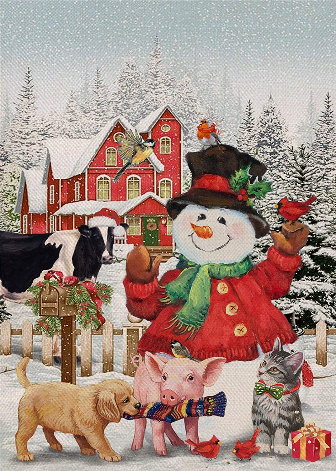 Furiaz Home Decorative Winter Garden Flag Christmas Snowman House Yard Outside Small Flag Xmas Cardinal Bird Dog Cat Cow Pig Decor Flag Double Sided, Holiday Country Farmhouse Outdoor Decoration 12x18