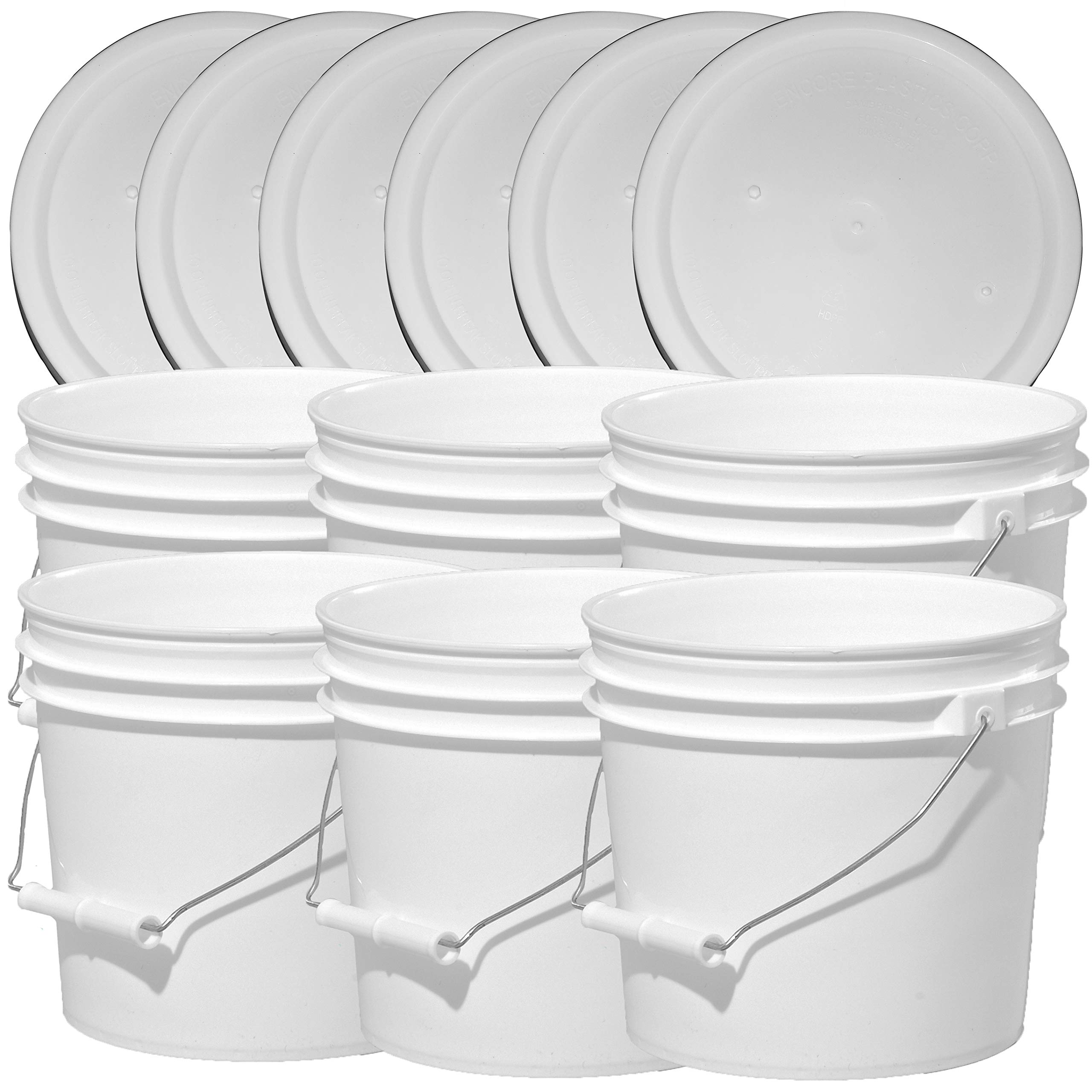 Illing Company Premium 1 Gallon Bucket, HDPE, White, 6 Pack with Matching Lids