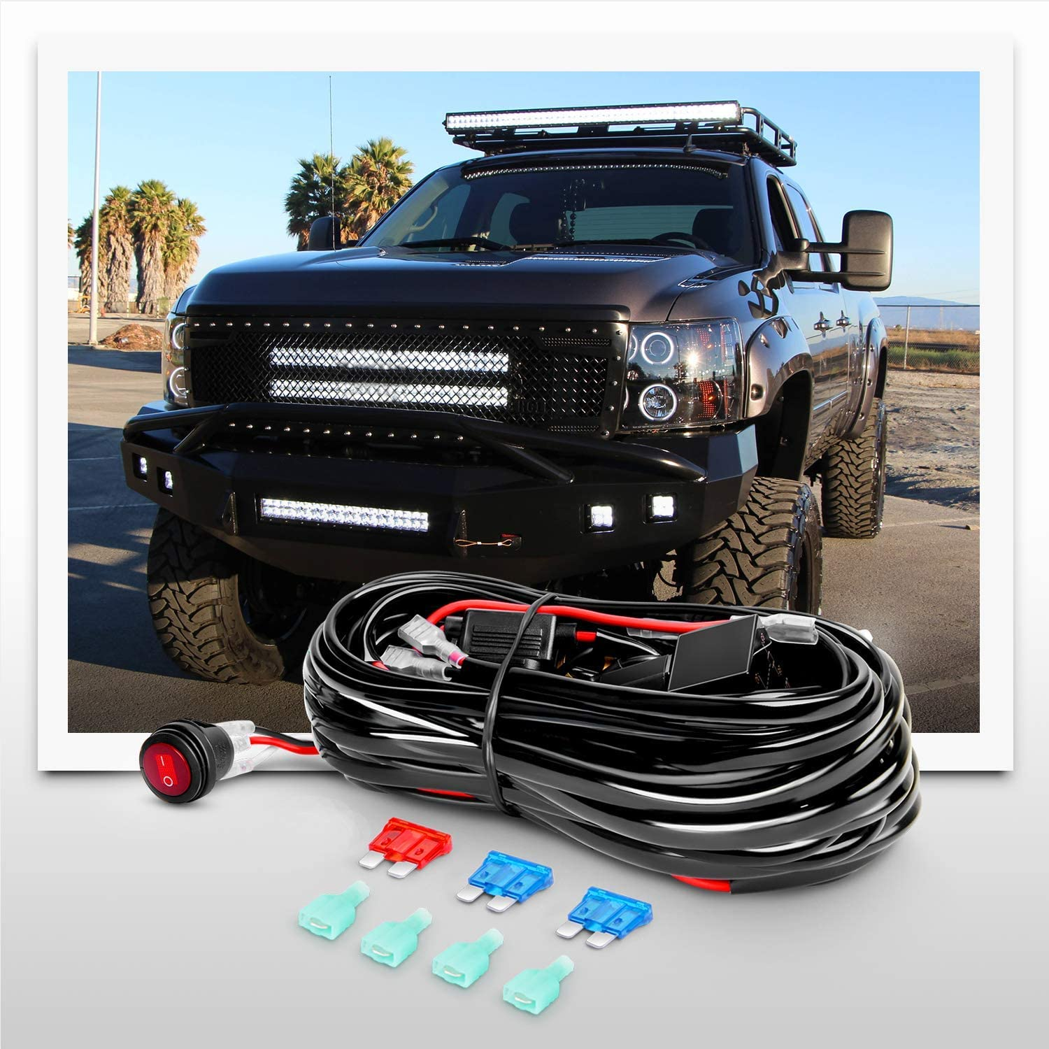 Nilight ZH412 Bar Set, 20 Inch 420W Triple Row Spot Flood Combo Work Driving Lamp, 2Pcs 4 Inch 60W Cube LED Pods Lights with Off-Road Wiring Harness-3 Leads, 2 Year Warranty: Automotive