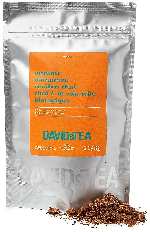 DAVIDsTEA Organic Cinnamon Rooibos Chai Loose Leaf Tea, Premium Caffeine-Free Rooibos for Focus and Hydration, 4 oz / 113 g