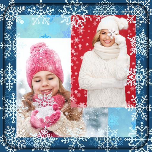 Snowflake Photo Green (Snowflake Photo Collage)