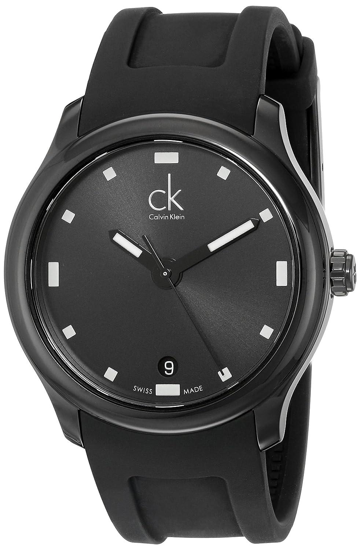 Amazon.com: Calvin Klein Mens K2V214D1 Visible Black Dial Black Rubber Strap Swiss Quartz Watch: Watches