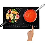 NutriChef Double Induction Cooktop 120V Portable Digital Ceramic Dual Burner w/Kids Safety Lock-Works with Flat Cast Iron Pan