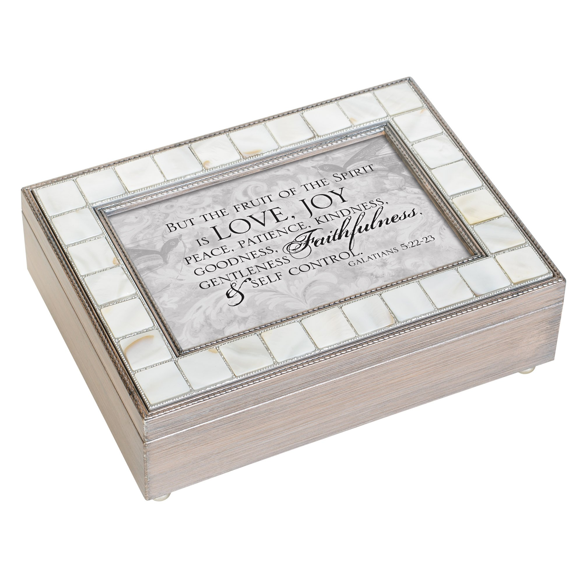 Cottage Garden Fruit of Spirit is Love Joy Peace Mother of Pearl Grey Jewelry Music Box Plays How Great Thou Art by Cottage Garden