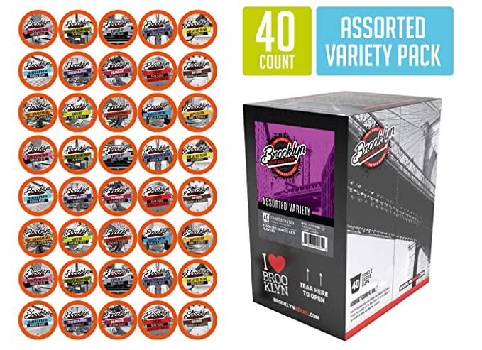 Brooklyn Beans Assorted Variety Pack Coffee Pods, Compatible with 2.0 K-Cup Brewers, 40 Count