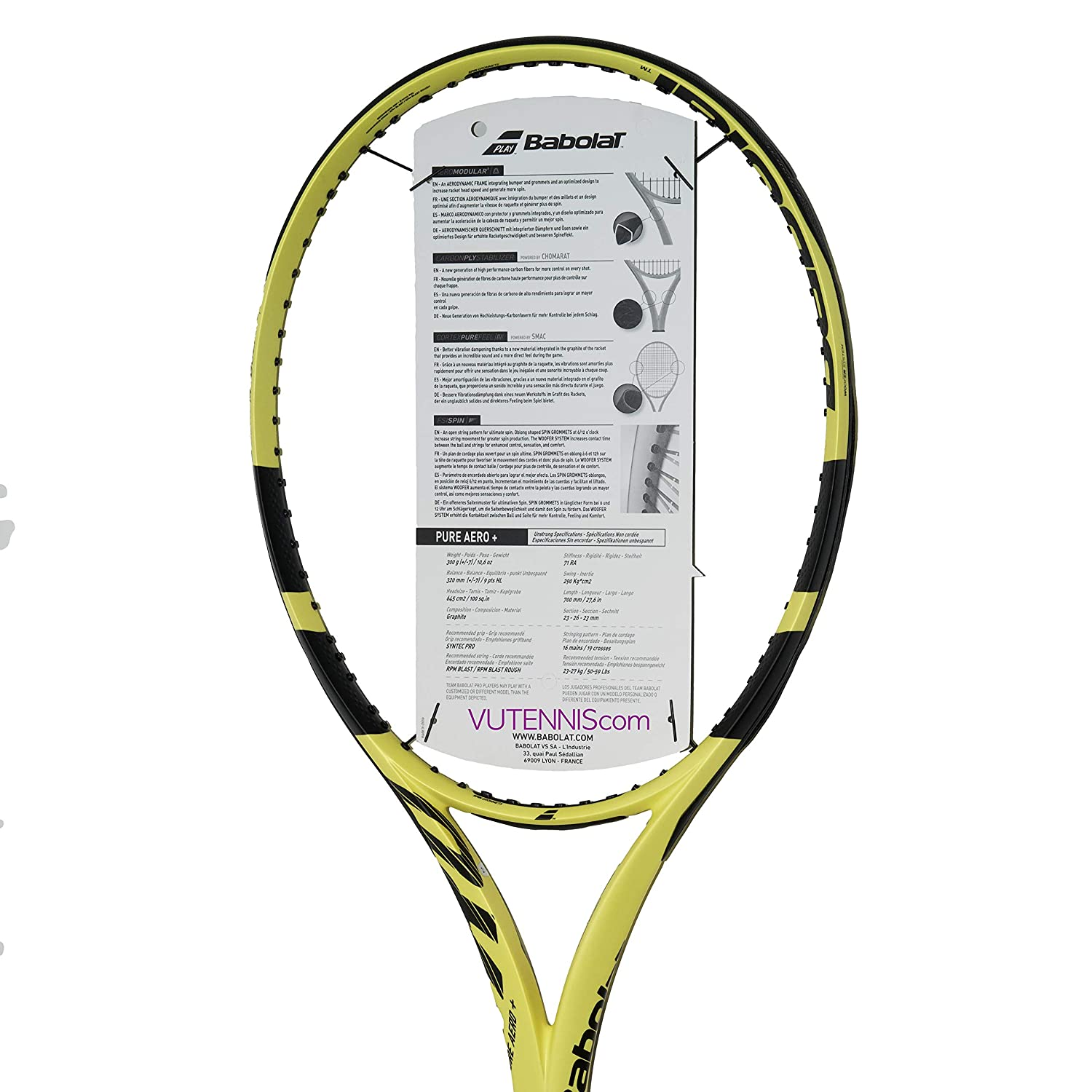 Amazon.com : [VUTENNISCOM] Babolat Pure Aero Plus 2019 ...