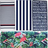 Microfibre Beach Towel, Waffle Weave, Cabana, Quick Dry, Compact & Light, Sand Free. Perfect for: Beach, Pool, Yoga, Gym, Travel, Cruise, Boating, Outdoors, Camping, Hiking. BONUS Face Towel&Carry Bag