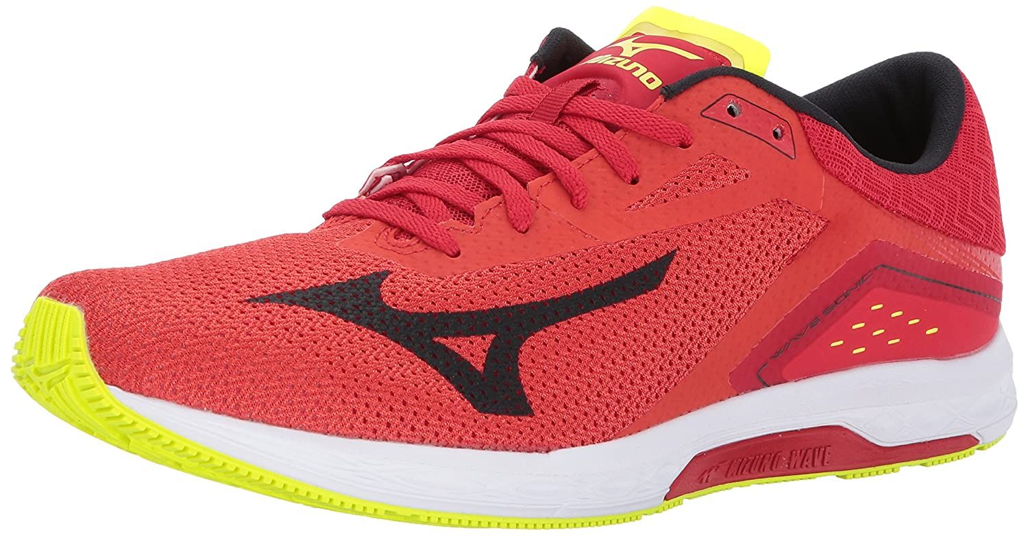 Mizuno メンズ Mizuno Men's Wave Sonic Running Shoes B01MTY962O 10.5 D US Grenadine/Black/Safety Yellow