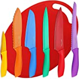 Utopia Kitchen 7 Piece Color-Coded Non-Stick Knife Set - (6 Knives plus Cutting Board)