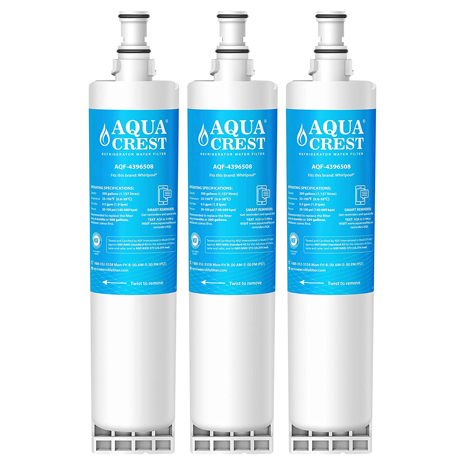 AQUACREST 4396508 Replacement Refrigerator Water Filter, Compatible with Whirlpool 4396508 4396510 EDR5RXD1, EveryDrop Filter 5, Kenmore 46-9010, PUR W10186668, NLC240V (Pack of 3)