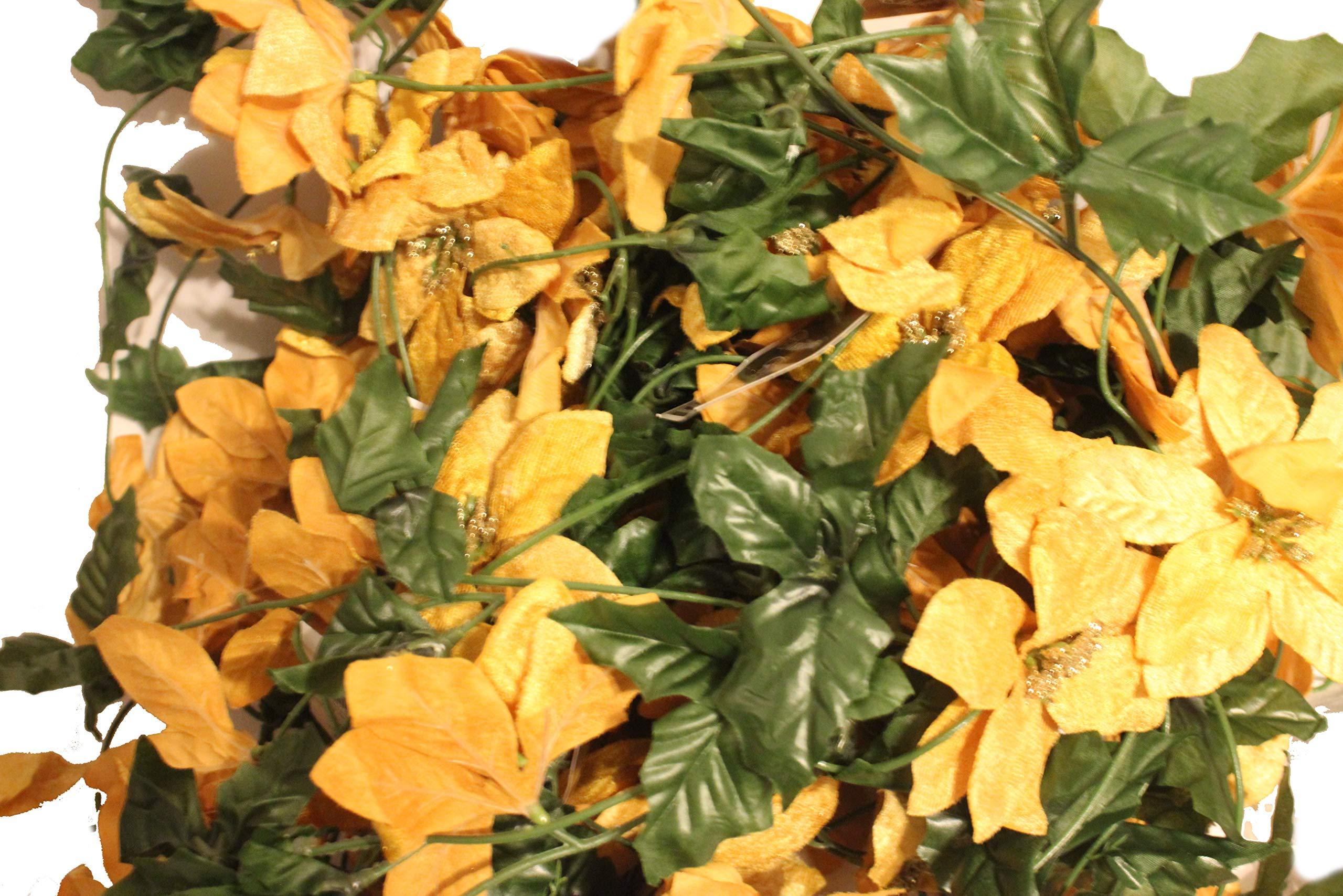 "silk flower arrangements set of 2 velvet sparkling christmas garlands with artificial poinsettia flowers - 50"" x 2, 100"" total!! (pumpkin spice)"