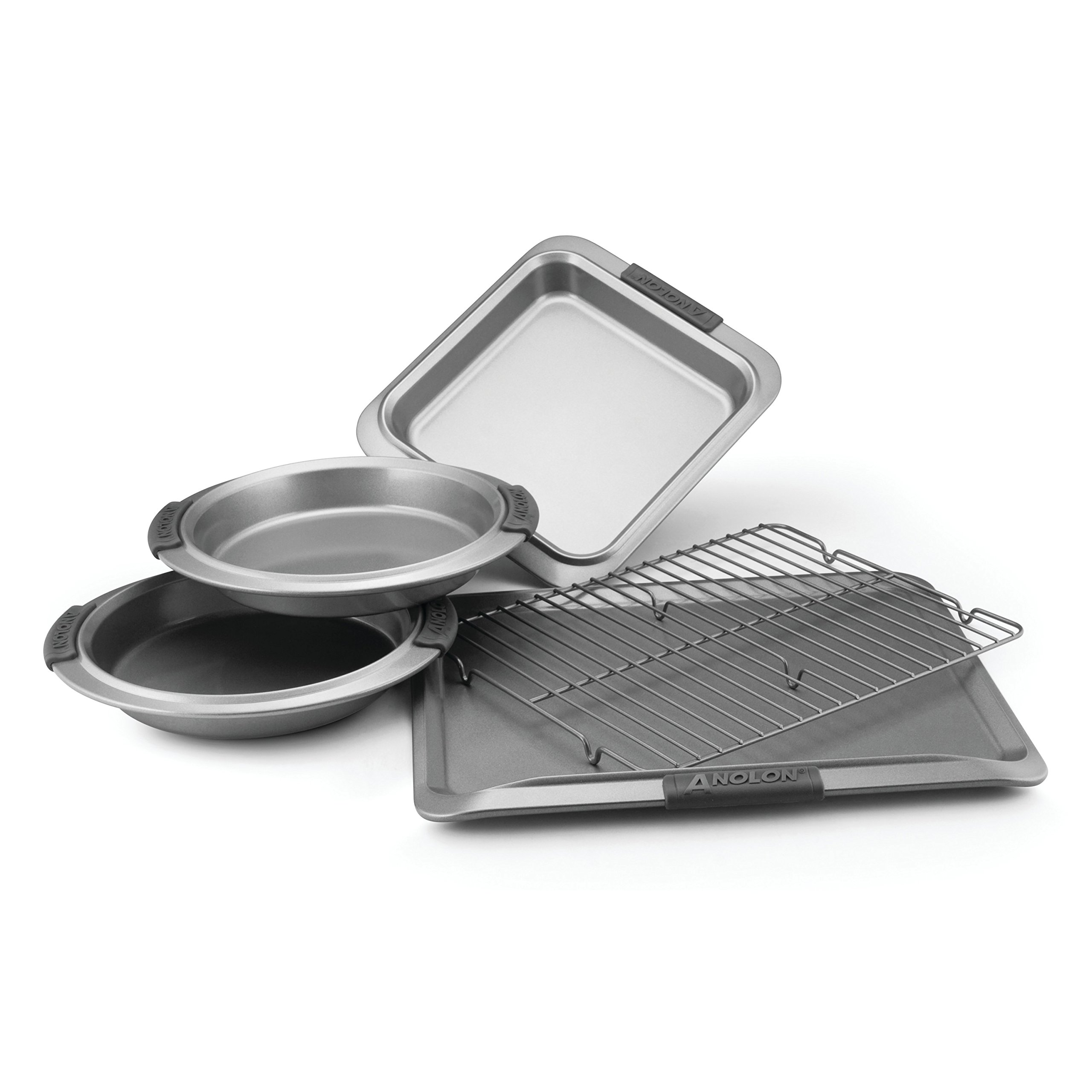 Anolon Advanced Nonstick Bakeware 5-Piece Bakeware Set with Silicone Grips, Gray