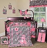 SISI Baby Girl Boutique - Pink Zebra 14 PCS Crib Nursery Bedding Set Including Lamp Shade