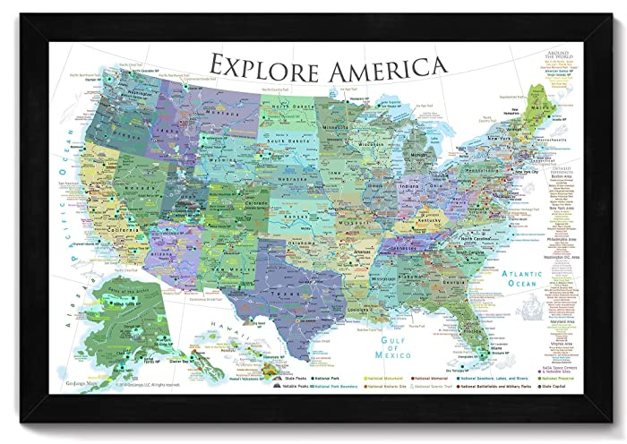Amazon.com: National Parks Map, Map of the US Push Pin Map - Bright ...