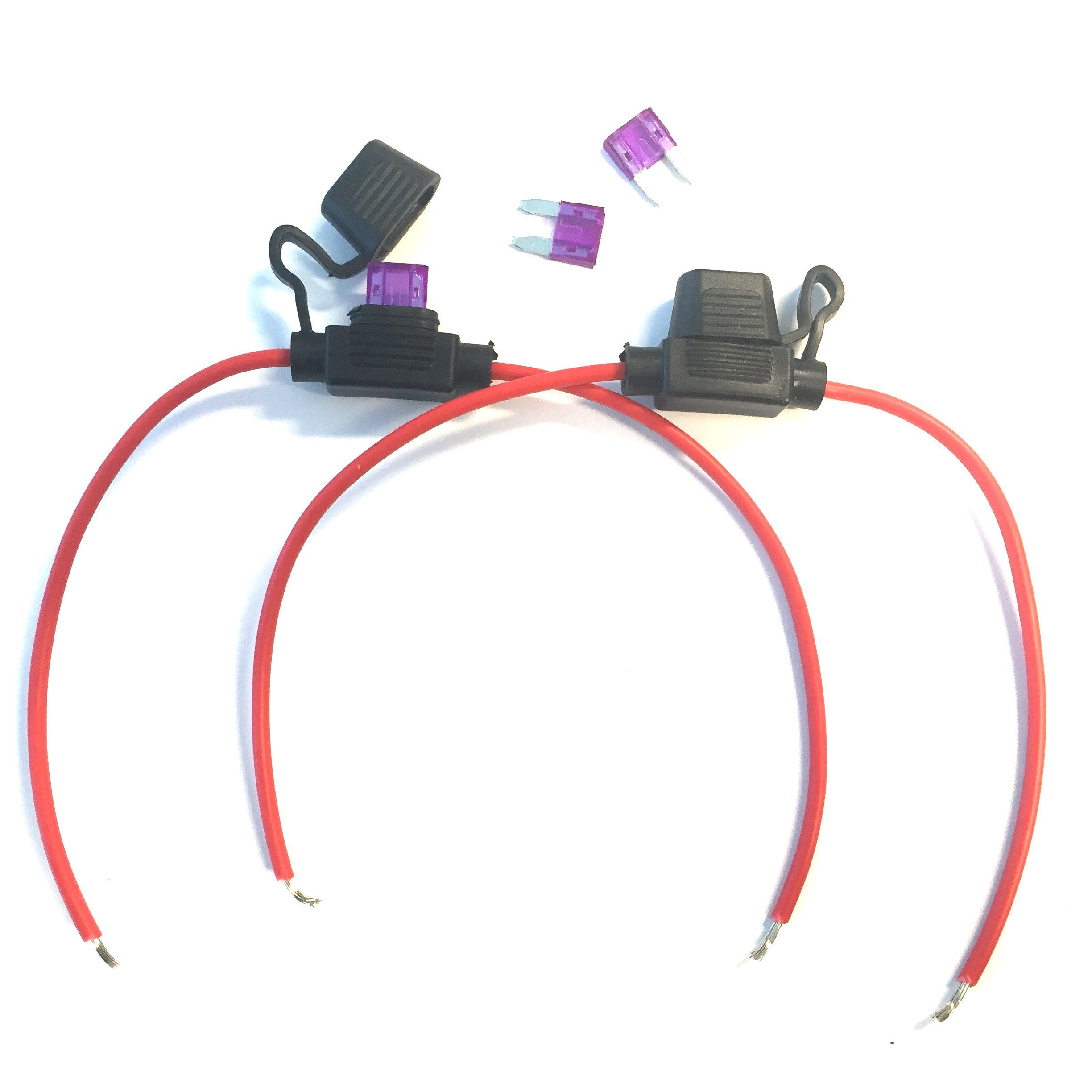 Inline Blade Fuse Holder Cable Leads Fuse Protection Kit - (for auto 12V 24V) 3 Amp