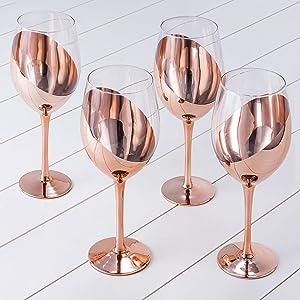 MyGift 14 oz Copper-Toned Stemmed Wine Glasses, Set of 4