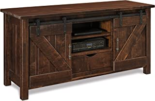 "product image for DutchCrafters Houston 60"" TV Media Stand Rough Sawn Rustic Brown Maple Wood, Amish Handcrafted, American Made (Tavern)"